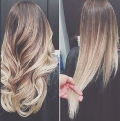 Brunette/blonde ombre hair  Curled and Straightened hairstyles
