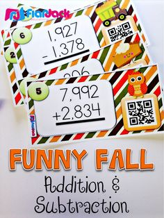 Funny Fall Multi-Digit Addition & Subtraction QR Code Task Cards - Make math practice fun this fall with these 24 self-checking QR code task cards that help students master multi-digit addition and subtraction. Silly graphics keep it entertaining! $