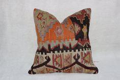 Turkish kilim pillow,Bohemian pillow,Cushion cover,Vintage kilim pillow,Ethnic pillow,Aztec pillow,Boho pillow,16 x 16 inches,40 x 40 cm