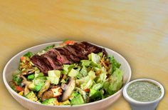Lunch: Grilled steak salad, Grilled mushrooms Avocado, Avocado tomatillo sauce.      PS: Forgot to take a picture so this a collage of a few shots I found online.