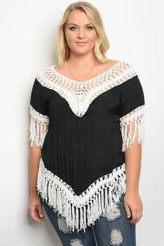 Plus Size Crochet Detailed Top