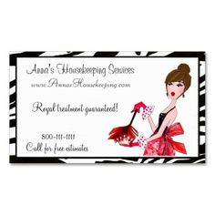 House Cleaning Business Card Pink Maid Lady   House cleaning ...