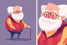 Funny old man character. Vector by Krol on Creative Market