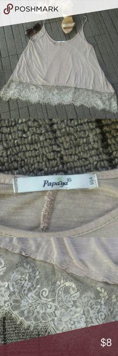 Hi low tshirt Like new, beige colored, very flowy, Papaya Tops Tank Tops
