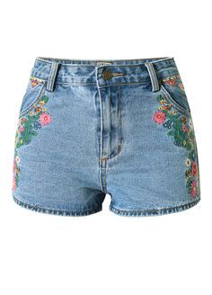 Stylish Multi Patterns Embroidery High Waist Denim Shorts_Denim Shorts Jeans_Women Jeans_Sexy Lingeire | Cheap Plus Size Lingerie At Wholesale Price | Feelovely.com