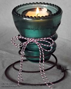 The Olde Farmhouse on Windmill Hill: Valentine Party 2013. Turn an insulator into a votive candle holder with a bed spring!