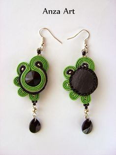 Embroidery Jewelry, Beaded Embroidery, Soutache Earrings, Drop Earrings, Earring Cards, Swarovski, Jewelry Photography, Hobbies And Crafts, Shibori