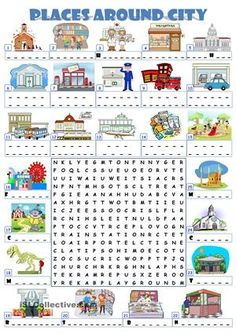 places in a city crossword puzzle exercise worksheet teaching ideas printable board games. Black Bedroom Furniture Sets. Home Design Ideas