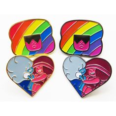 Garnet, Ruby, and Sapphire Steven Universe Enamel Pin Set ($18) ❤ liked on Polyvore featuring jewelry, brooches, enamel jewelry, pin brooch, sapphire jewellery, ruby charm and rainbow jewelry