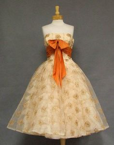 """""""Vintage 50's Will Steinman Embroidered Tulle Cocktail Dress""""  Not an orangey fan, but I like it here."""