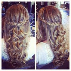 Waterfall braid with curly hair- ugh so pretty!!❤️
