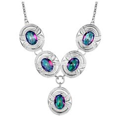 Rainbow Mystic Topaz In Vintage Style Silver Plated Pendant Necklace   eBay