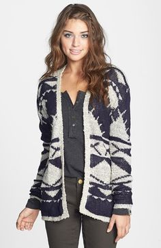 Woven Heart Geometric Pattern Cardigan (Juniors) available at #Nordstrom