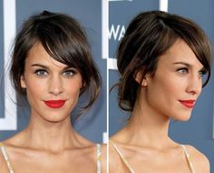 Wedding hairstyles brown fringe hairstyles over curly hairstyles short bob cuts for short hairstyles crown plait hairstyles. Short Hair Updo, Short Hair Styles, Short Bangs, Bob Updo, Messy Updo, Messy Buns, Hairstyles With Bangs, Pretty Hairstyles, Black Hairstyles