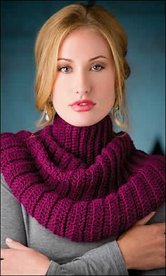 Raspberry Cowl by Jennifer Cirka/Jaybird Designs in Crochet World Magazine Dec 2012 - This turtleneck capelet/cowl is made using Mary Jane Hall's Graduated Stitch Method of shaping crochet garments without increases and decreases.