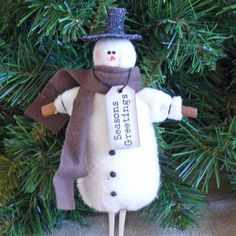 Snowman Handmade Christmas Ornament by SnowmanCollector on Etsy, $9.00