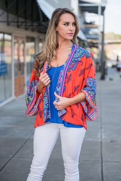 Paisley Sunset Kimono, Coral || Outfit feeling a little a dull? A little drab? No worries! This kimono will liven up any outfit! It's vibrant colors and wild print will add just the kick you are looking for!