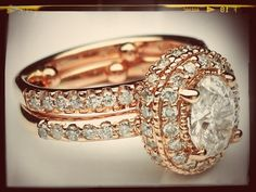 but why do I think this is just so beautiful.... Pink Gold Oval Diamond Double Halo Engagement Ring & Matching Wedding Ring