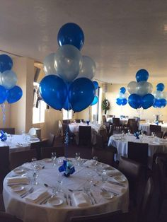 40th Birthday Decorations, Blue Birthday, Graduation Party Decor, 40th Birthday Parties, Bridal Shower Decorations, Birthday Balloons, Royal Blue Centerpieces, Balloon Centerpieces, Balloon Decorations