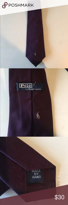 Polo Ralph Lauren Tie Purple silk tie with gold polo emblem. Previously worn but in excellent condition! Open to reasonable offers through feature! Polo by Ralph Lauren Accessories Ties