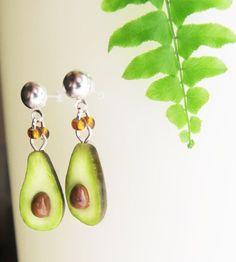 Avocado Earrings Fruit jewelry Miniature food by TheJewelSaga Ear Jewelry, Unique Jewelry, Miniature Food, Fruit, Pear, Miniatures, Drop Earrings, Handmade Gifts, Etsy