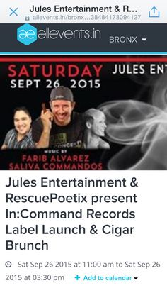 #AllEventsBronx #Cigars #House #BeInCommand   https://allevents.in/bronx/jules-entertainment-and-rescuepoetix-present-in-command-records-label-launch-and-cigar-brunch/1638484173094127