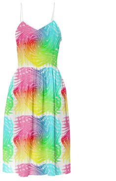 Pastel Rainbow Abstract Wave Swirl Patterned Summer Fashion Sun Dress | Print All Over Me