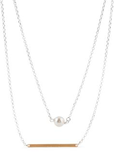Gorgeous fresh water pearl, two tone sterling silver necklace.