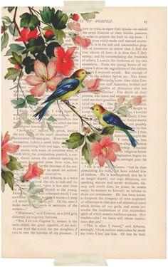 Vintage flowers & birds illustration