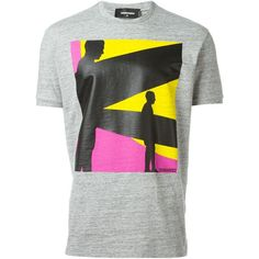 Dsquared2 printed T-shirt (410 BRL) ❤ liked on Polyvore featuring men's fashion, men's clothing, men's shirts, men's t-shirts, grey, mens patterned t shirts, mens print shirts, mens short sleeve cotton shirts, mens grey shirt and mens grey t shirt