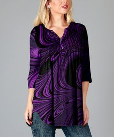 Love this Purple & Black Abstract Button-Front Tunic - Plus by Simply Aster on #zulily! #zulilyfinds