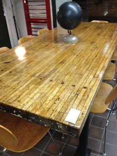 Upcycled bowling lanes - even trashed ones look great!