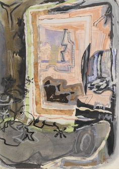 Patrick Heron (English, 1920-1999), Harbour window in mirror, St. Ives, 1952. Pencil, watercolour, wash and gouache, 14½ x 11 in.