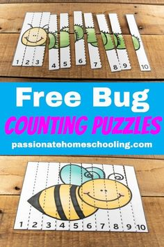 FREE COUNT TO 10 BUG PUZZLES: These counting to 10 bug puzzles are so cute! My daughter loves to practice her numbers with these fun activities. A perfect way to have fun practicing early math skills. Numeracy Activities, Preschool Learning Activities, Number Activities For Preschoolers, Preschool Curriculum Free, Spanish Activities, Homeschool, Number Recognition Activities, Numbers For Kids, Learning Numbers Preschool