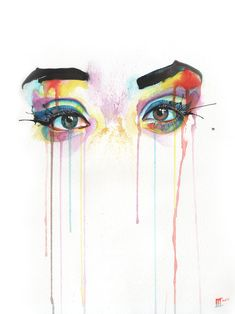 "Saatchi Online Artist: Innes McDougall; Watercolor, 2012, Painting ""Gaze""    lesson inspiration: create a watercolor background with drips, splatters, etc. first and then do a pencil drawing on top"