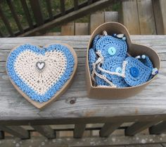 Garland - Bunting - Blue - Crochet - Home Decor - Nursery Accent - Party Decor - Baby Shower - valentines day. $25.00, via Etsy.