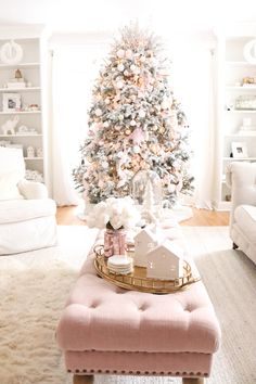 Living Room Christmas Tour 2018 - A Darling Daydream Flocked Christmas Trees Decorated, Rose Gold Christmas Decorations, White Christmas Trees, Classy Christmas, Noel Christmas, Christmas Mantles, Vintage Christmas, Victorian Christmas, Christmas Stockings