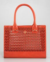Tory Burch Ella Logo-Perforated Tote...glorious color !! :)