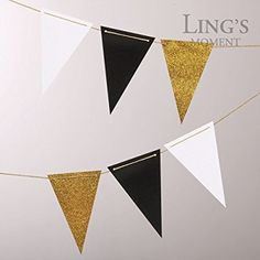 Ling's moment Vintage Style Pennant Banner, Triangle Flag Banner, Paper Bunting for Wedding, Baby Shower and Party Decorations, Upgrades (Black+White+Gold Glitter), 10 feet, 15pcs Flags