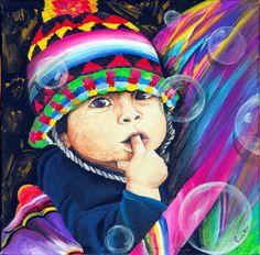 Acrilico su tela 30×30-Virna Suppo Working People, Mandala, Photos, Watercolor, Llamas, Paint Ideas, Portraits, Painting, Play