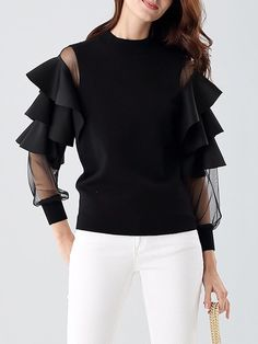 This frill sleeve crew neck sweater is a great example of how the sleeves from have changed to adapt to modern styles. This particular sweater has frills and mesh sleeves. Blouse Styles, Blouse Designs, Sleeve Designs, Hijab Fashion, Fashion Dresses, Midi Dress With Sleeves, Sweater Shop, Mode Hijab, No Frills