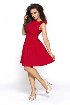 Czerwona sukienka z kokardami KM112-2 na wesele