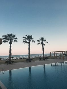 Palm trees, pool and sunset in Rhodes