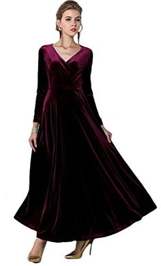 V-Neck Long Sleeve Empire Waist Full Length Party Clubwear Pleuche Dress Medieval Hats, Medieval Fashion, Renaissance Dresses, Office Ladies, Long Blouse, Clubwear, Shirt Sleeves, V Neck, Clothes For Women