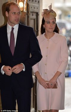 Arrival: The Duke and Duchess of Cambridge make their way into Westminster Abbey for the C...