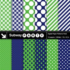 INSTANT DOWNLOAD Navy Blue and Green Digital Papers by subwayParty, $3.20 @Amanda Snelson Whittle