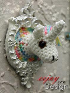 Unicorn Amigurumi Wall Animal / Magnet by eejay Design | Felt