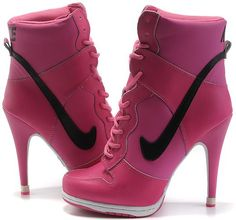 competitive price d970e ba8d1 Womens Hot Pink and Black Nike Heels Dunk SB High Heels Boots, Shoe Boots,