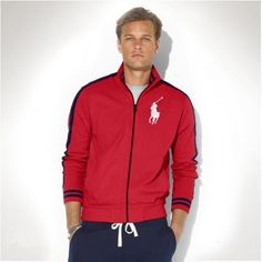 Ralph Lauren Men Big Pony Fleece Baseball Jacket Red http://www.ralph