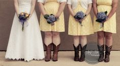 Bridal party pose, country wedding, country wedding, cowgirl boots.